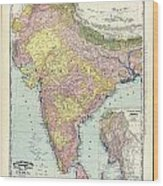 Antique Map Of India - Further India Wood Print