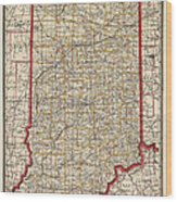 Antique Map Of Indiana By George Franklin Cram - 1888 Wood Print