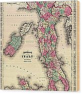 Antique Map Of Italy Wood Print
