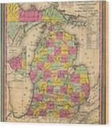 Antique Map Of Michigan 1853 Wood Print