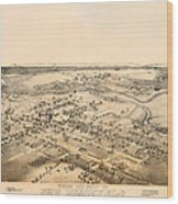 Antique Map Of New Braunfels Texas 1881 Wood Print