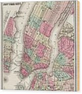 Antique Map Of New York City Wood Print