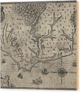 Antique Map Of North Carolina And Virginia By John White - 1590 Wood Print