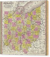 Antique Map Of Ohio 1850 Wood Print