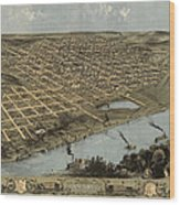 Antique Map Of Omaha Nebraska By A. Ruger - 1868 Wood Print by Blue Monocle