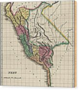 Antique Map Of Peru By Henry Charles Carey - 1822 Wood Print