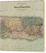 Antique Map Of Puerto Rico - 1886 Wood Print