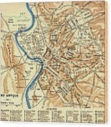 Antique Map Of Rome During Antiquity 1870 Wood Print