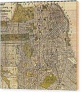 Antique Map Of San Francisco 1932 Wood Print