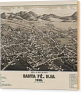 Antique Map Of Santa Fe New Mexico By H. Wellge - 1882 Wood Print by Blue Monocle