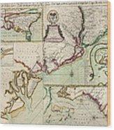 Antique Map Of South Carolina By Edward Crisp - Circa 1711 Wood Print