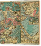 Antique Map Of The Baltic And North Sea Ports  Wood Print