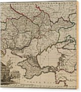 Antique Map Of The Russian Empire In Russian 1800 Wood Print