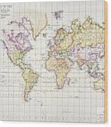 Antique Map Of The World Wood Print by James The Elder Wyld