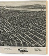 Antique Map Of Tulsa Oklahoma By Fowler And Kelly - 1918 Wood Print by Blue Monocle