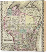Antique Map Of Wisconsin 1855 Wood Print