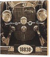 Antique Mercedes Benz In Sepia Wood Print