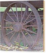 Antique Metal Wheel Wood Print