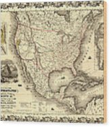 Antique North America Map Wood Print