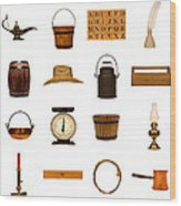 Antique Objects Collection Wood Print