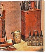 Antique Oil Bottles Wood Print