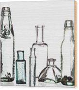 Antique Old Bottles Wood Print