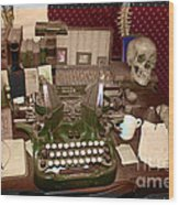 Antique Oliver Typewriter On Old West Physician Desk Wood Print by Janice Rae Pariza