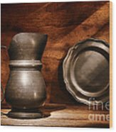 Antique Pewter Pitcher And Plate Wood Print
