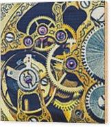 Antique Pocket Watch Gears Wood Print