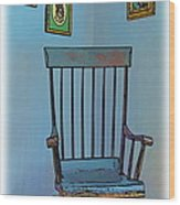 Antique Rocking Chair Wood Print