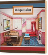 Antique Salon - Colonial Red And Blue Wood Print