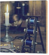 Antique Sewing Items Wood Print by Amanda Elwell
