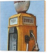 Antique Shell Gas Pump Wood Print