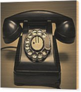 Antique Telephone Wood Print by Diane Diederich