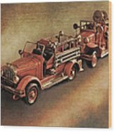 Antique Toy Fire Trucks Wood Print
