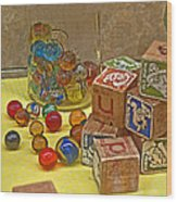 Antique Toys Wood Print