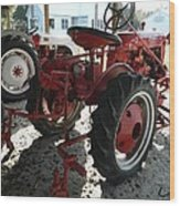 Antique Tractor Hiding In The Shadows Wood Print