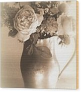 Antique Vase And Roses Wood Print