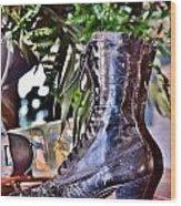 Antique Victorian Boots At The Boardwalk Plaza Hotel - Rehoboth Beach Delaware Wood Print