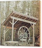 Antique Wagon Wheel Wood Print