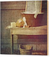 Antique Wash Tub With Soaps Wood Print by Sandra Cunningham