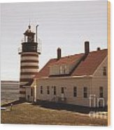 Antique West Quoddy Lighthouse Wood Print
