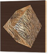 Antique White Gold Abstract Cube Wood Print