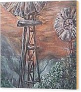 Antique Windmills At Dusk Wood Print