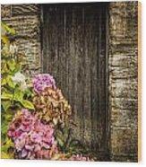 Antique Wooden Door And Hortensia Wood Print