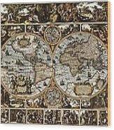 Antique World Map Circa 1670 II Wood Print