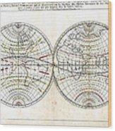 Antique World Map Harmonie Ou Correspondance Du Globe 1659 Wood Print