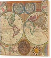 Antique World Map In Hemispheres 1794 Wood Print
