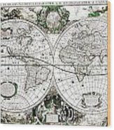 Antique World Map Poster Wood Print