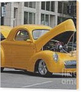 Antique Yellow Car Wood Print